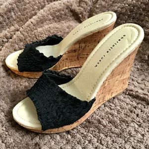 Black cork wedge heels